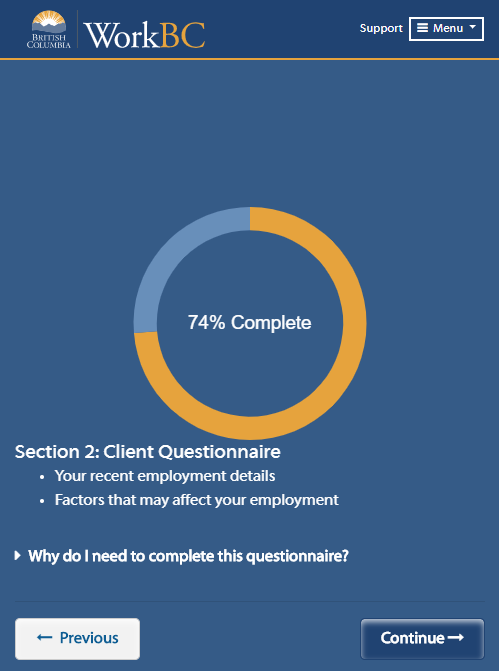 OES Section 2 Client Questionnaire screen shot
